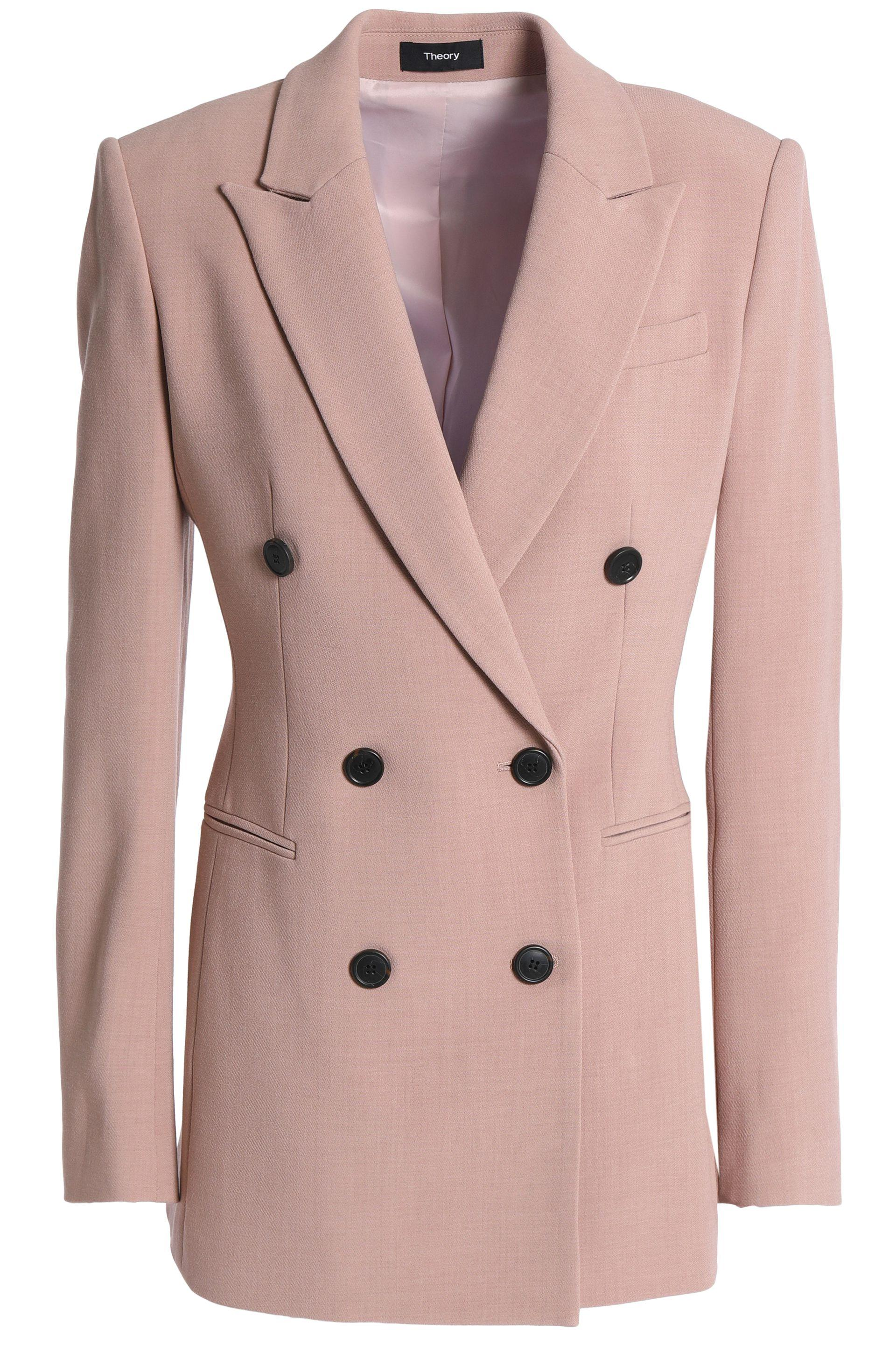 10b6b5e295 Theory Woman Double-breasted Crepe Blazer Baby Pink in Pink - Lyst
