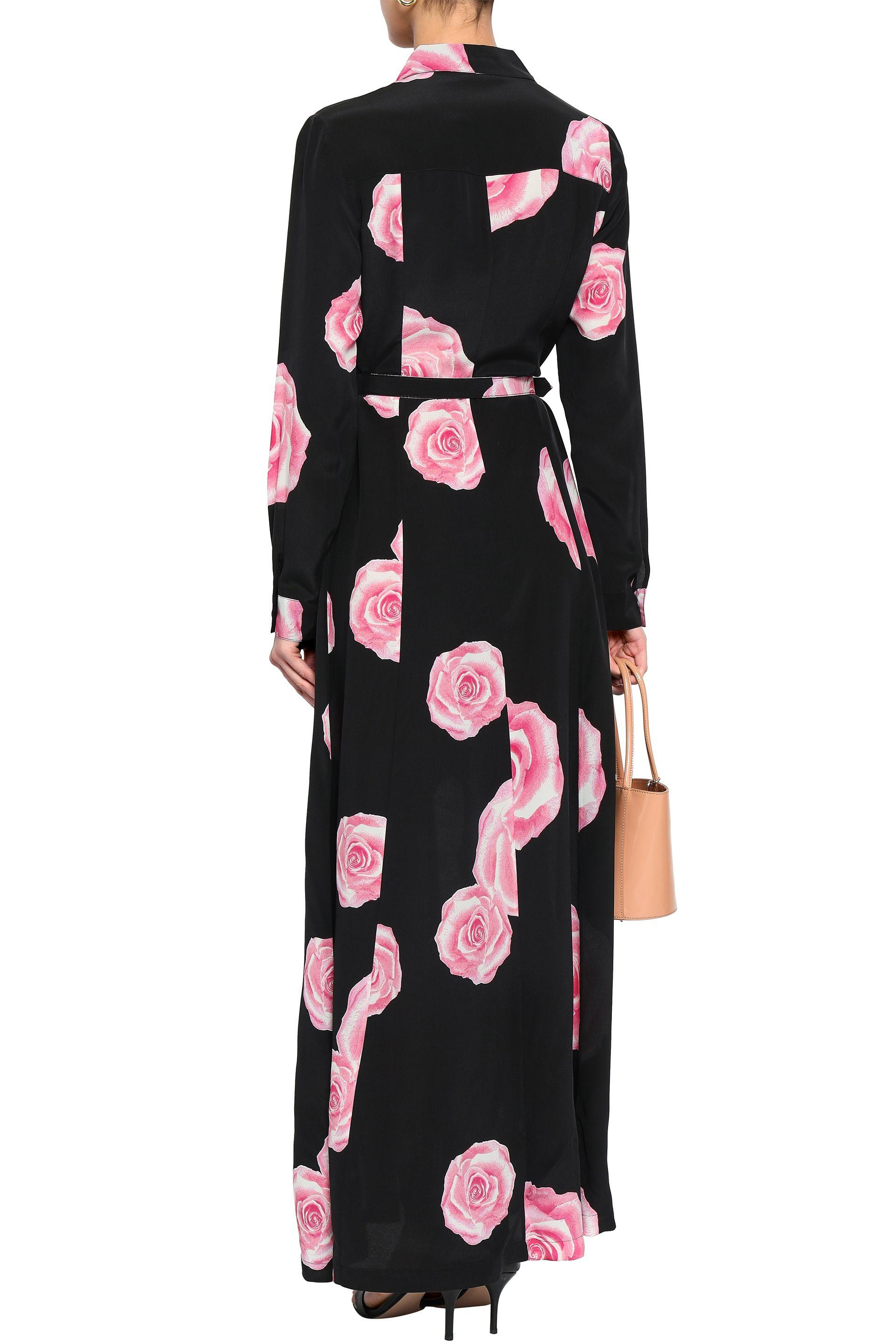 bb7d33e0 Ganni - Woman Fayette Floral-print Silk Maxi Shirt Dress Black - Lyst. View  fullscreen