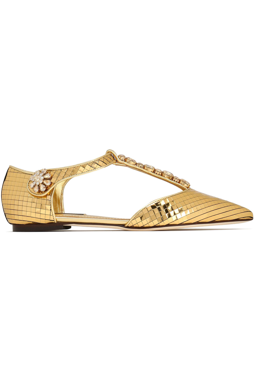 Dolce   Gabbana Crystal-embellished Metallic Leather Point-toe Flats ... fcfc602278156