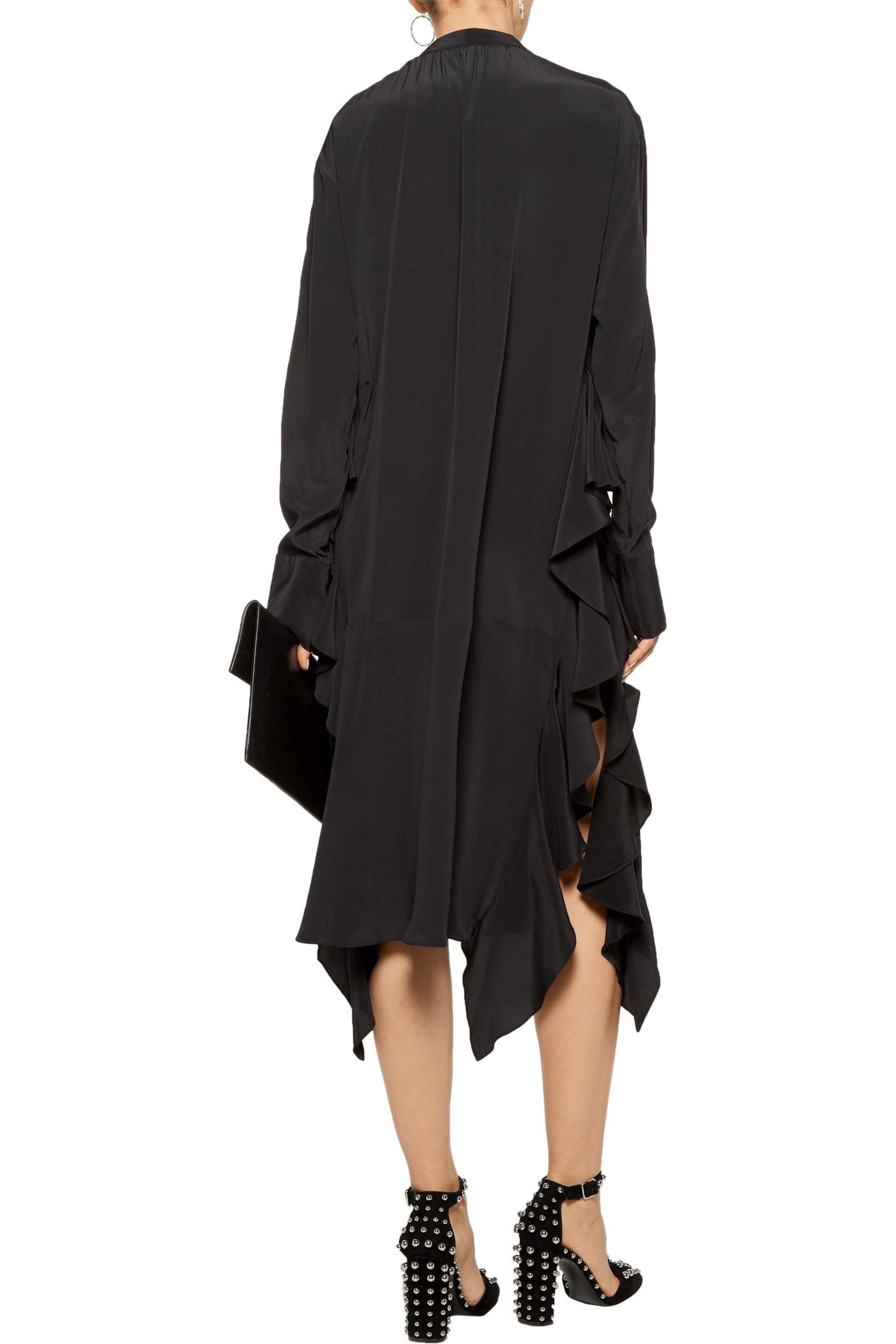 Rochas | Black Pussy-bow Ruffled Silk Midi Dress | Lyst. View Fullscreen