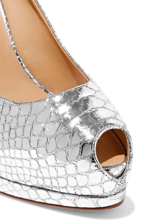 262cbf9533c Giuseppe Zanotti - Metallic Woman Sharon Snake-effect Mirrored-leather  Platform Pumps Silver -. View fullscreen