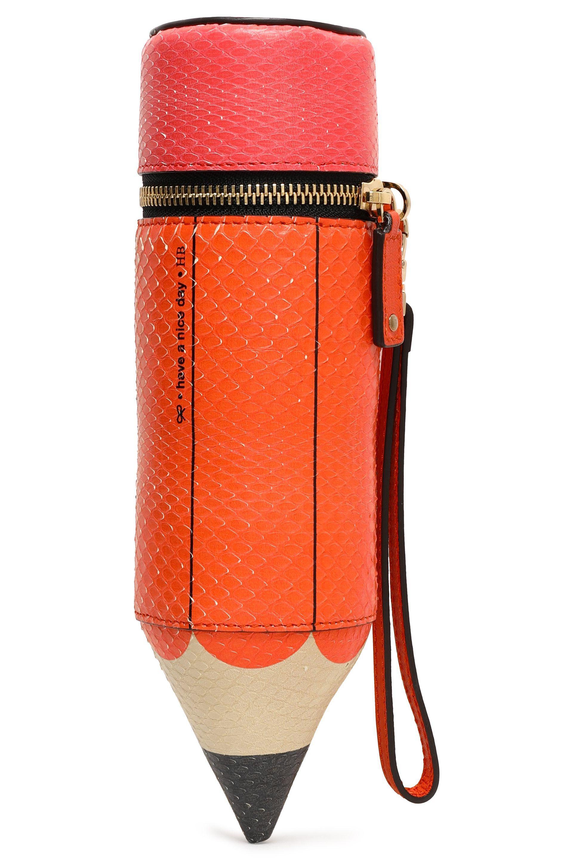 Anya Hindmarch Anya Hindmarch Femme Orange Taille Embrayage Python Imprimé Étui À Crayons Commander En Ligne offres v4o8rU0C
