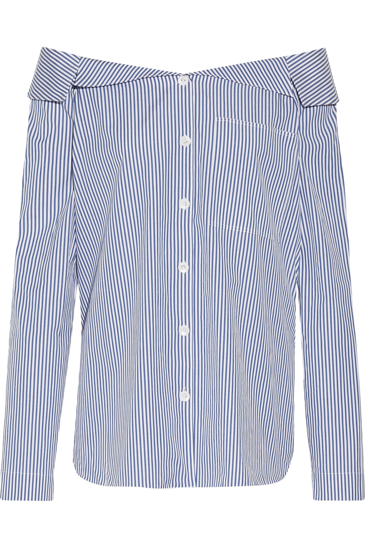 78560d29db46 Lyst - Tibi Off-the-shoulder Striped Cotton-poplin Top in Blue