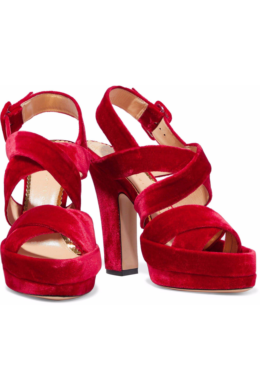 Charlotte Olympia velvet platform sandals outlet low cost T6AsHmARj
