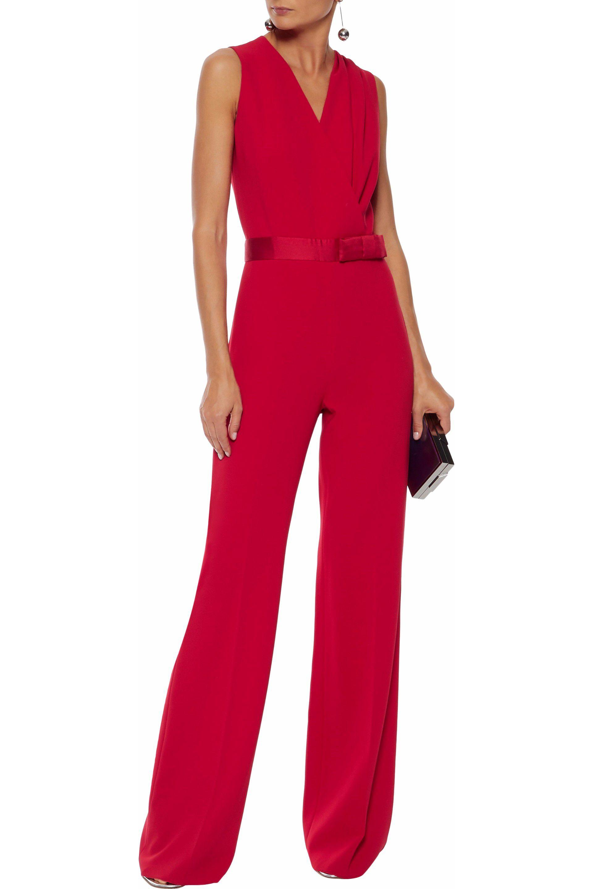 Lyst - Max Mara Woman Wrap-effect Satin-trimmed Crepe Jumpsuit Red ... 446f07a49