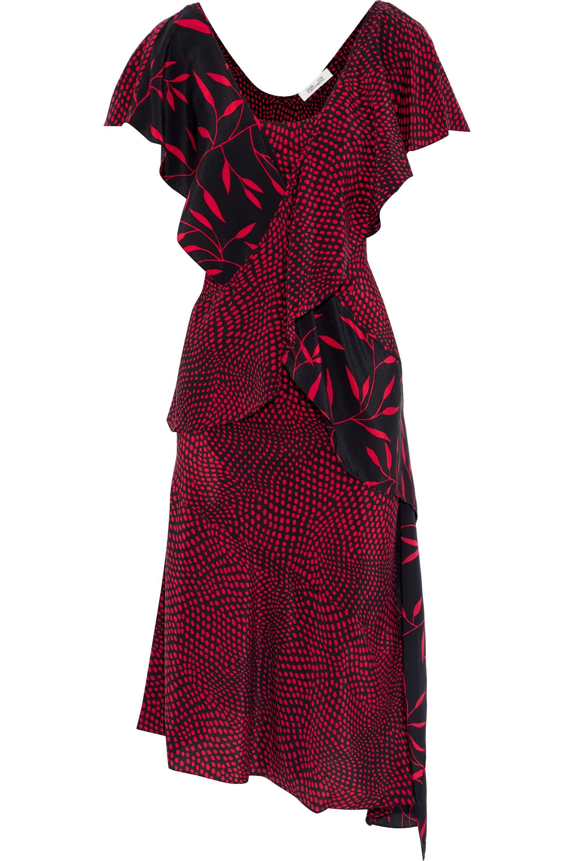 a1d5b2fac1c Diane von Furstenberg. Women s Woman Layered Printed Silk Crepe De Chine  Dress Red
