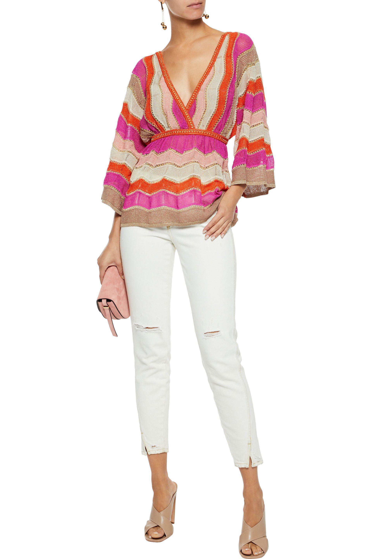 bfebe6077f3bf6 M Missoni - Multicolor Metallic Crochet-knit Top - Lyst. View fullscreen