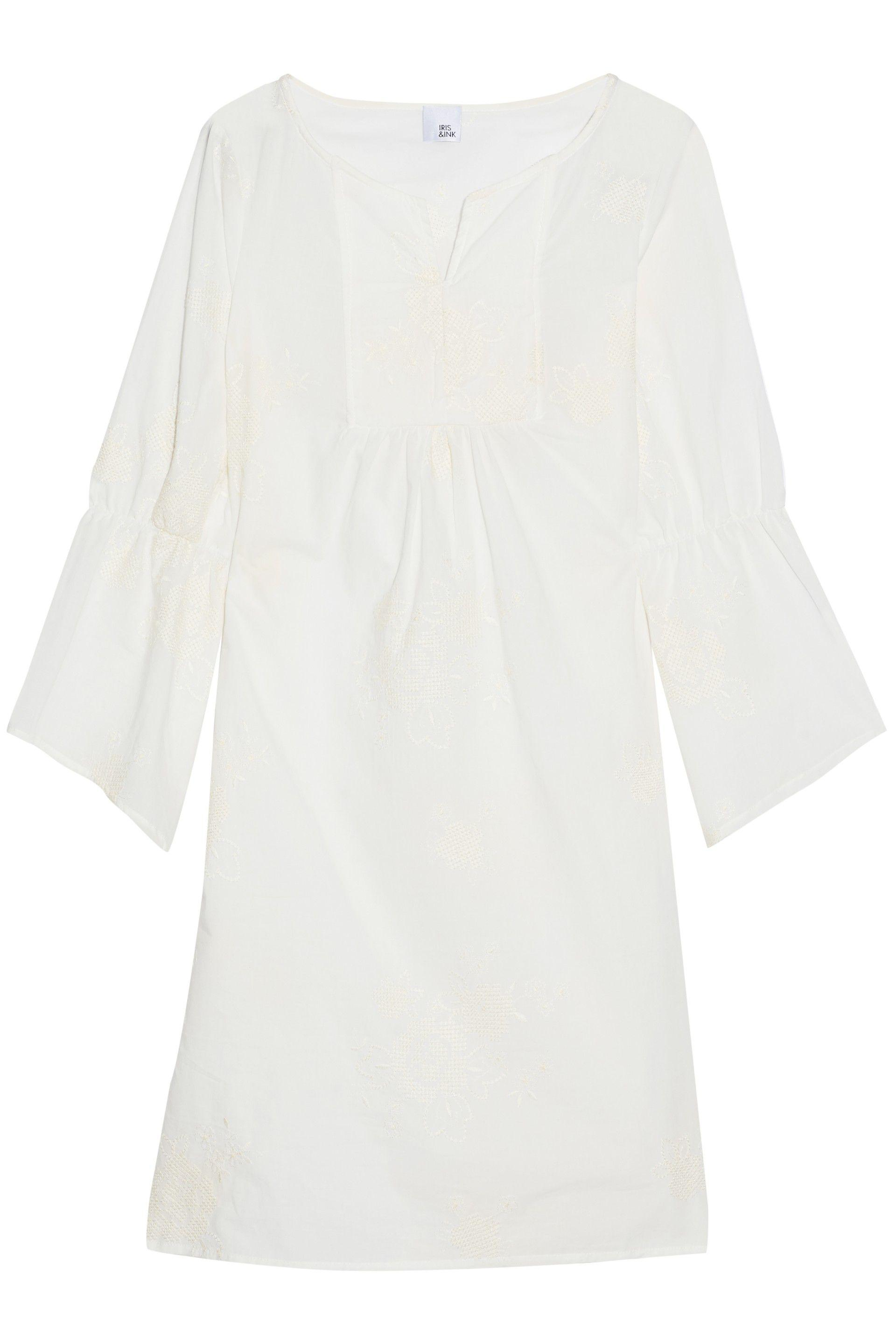 Iris & Ink Woman Wallace Gathered Embroidered Cotton-gauze Coverup Ivory Size 4 IRIS & INK Extremely Cheap Price Cheap 2018 New Get To Buy Cheap Online New rnKfn