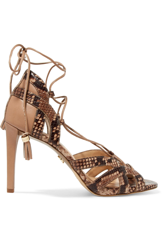88b750c69453 MICHAEL Michael Kors Mirabel Paneled Snake-print Sandals in Brown - Lyst