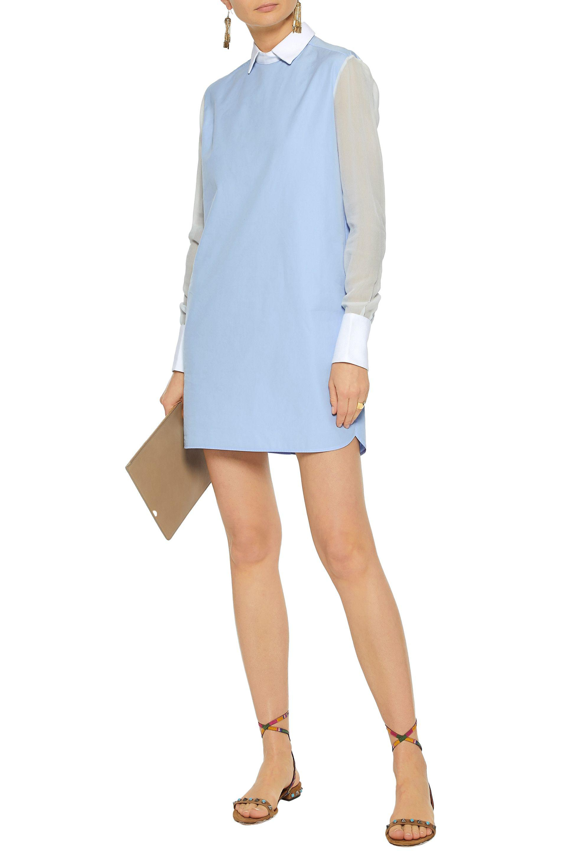 Valentino Woman Ruffle-trimmed Crochet-knit Silk Dress Sky Blue Size M Valentino Sale Wide Range Of H28aK1