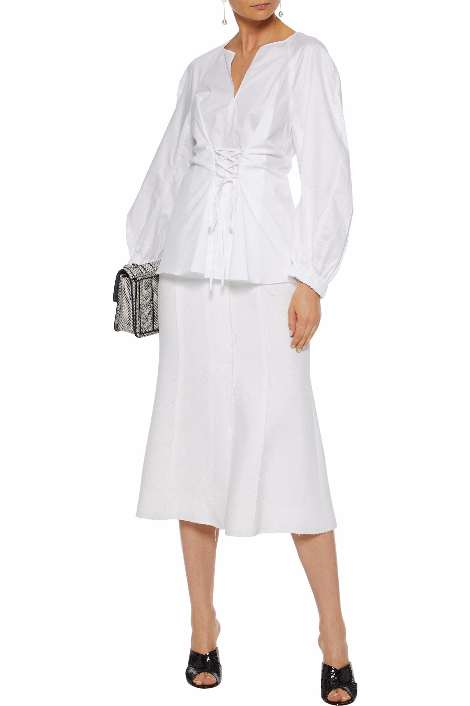 a9586d6ddd91 Tibi - Woman Lace-up Satin-trimmed Cotton-poplin Top White - Lyst. View  fullscreen
