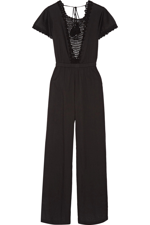 LoveShackFancy. Women's Black Crocheted Cotton-voile Jumpsuit