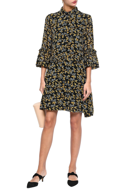 e5f7e059 Ganni - Woman Marceau Floral-print Georgette Mini Dress Black - Lyst. View  fullscreen
