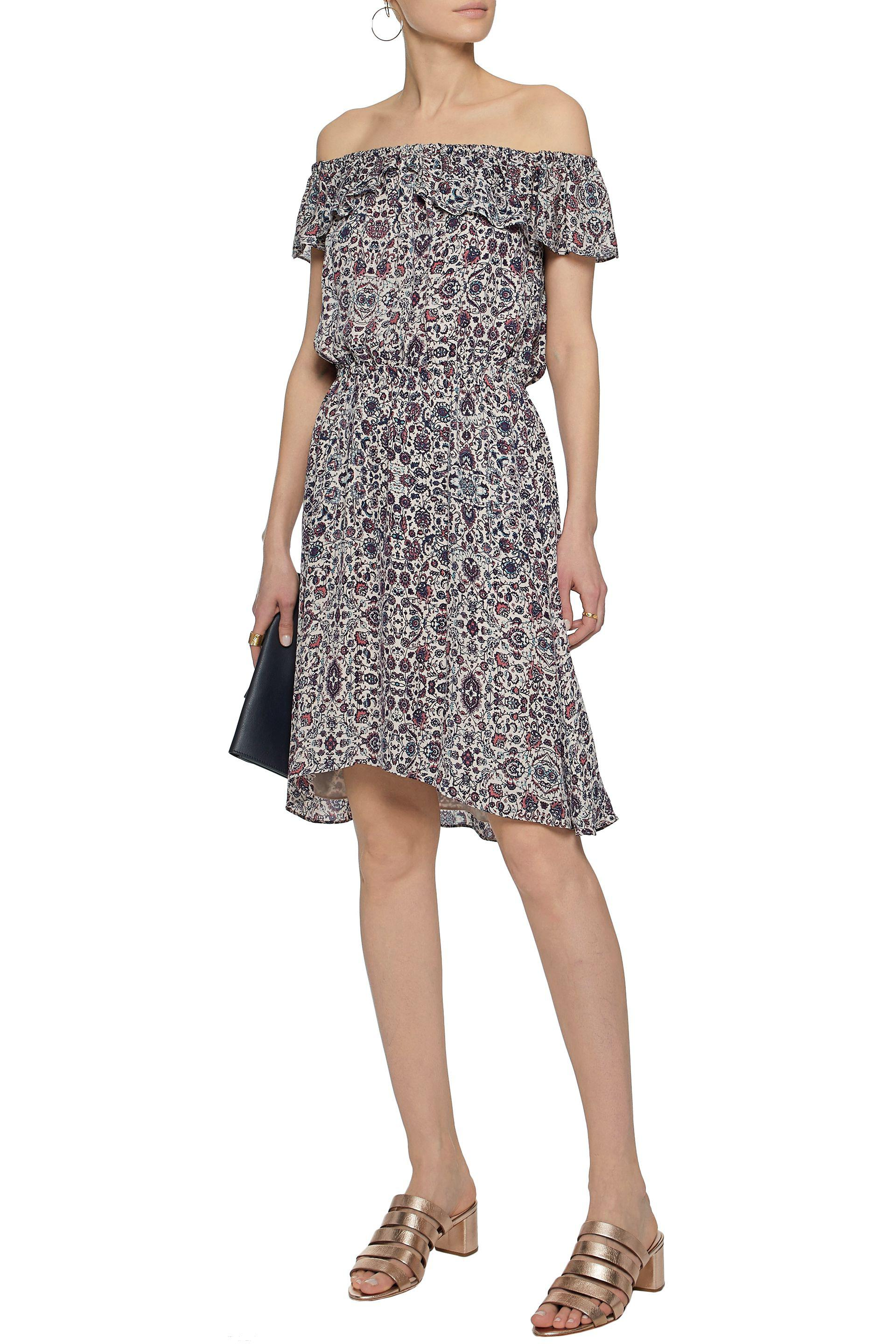 Lagence Woman Off-the-shoulder Ruffled Printed Silk-chiffon Dress Brick Size L L'agence