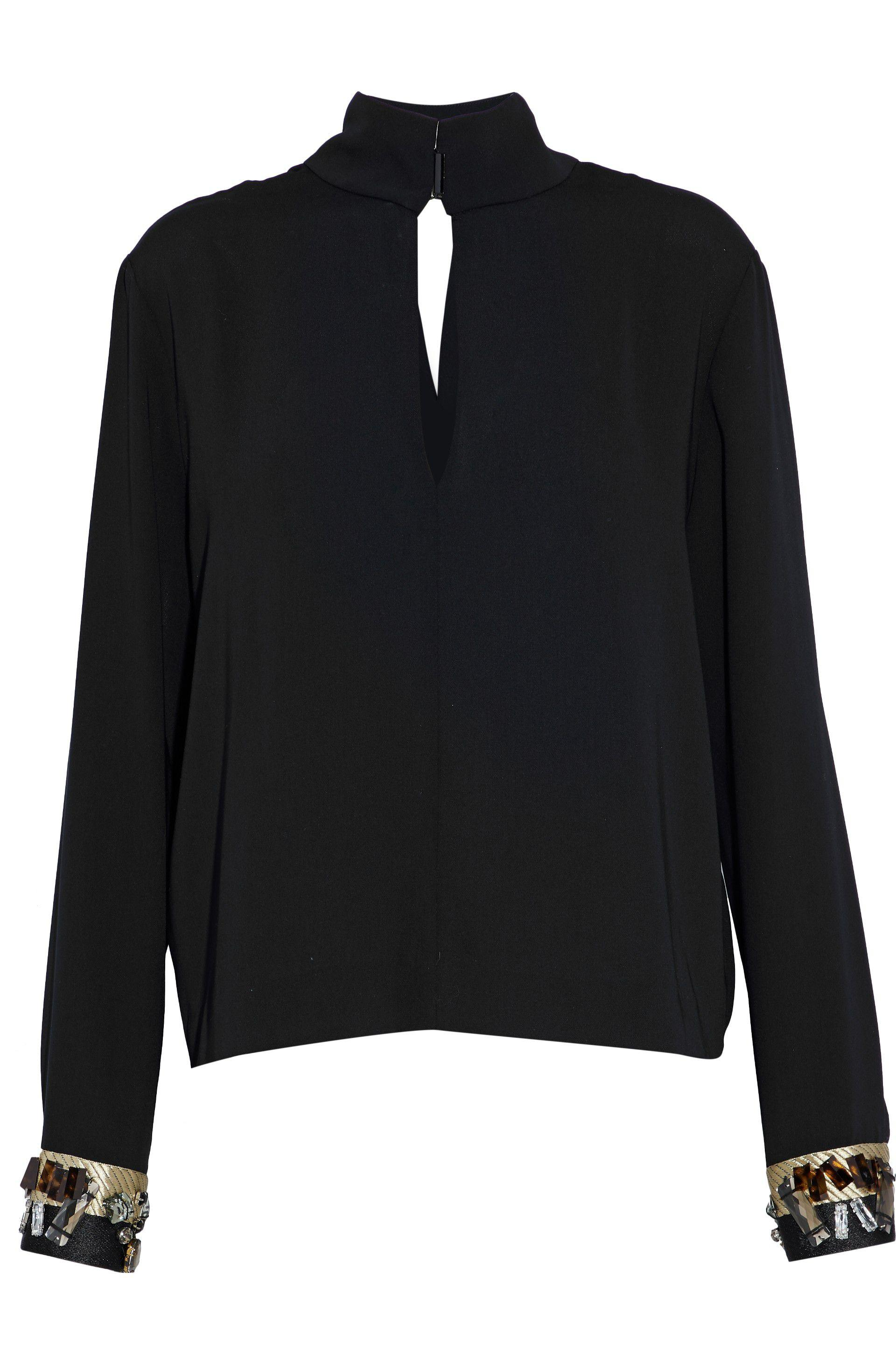 By Malene Birger. Women's Black Limanta Embellished Crepe De Chine Blouse