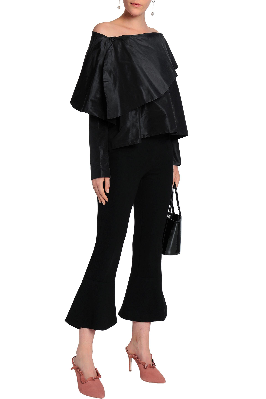 e28a9a302f33ce Isa Arfen Woman Off-the-shoulder Silk-taffeta Top Black in Black - Lyst