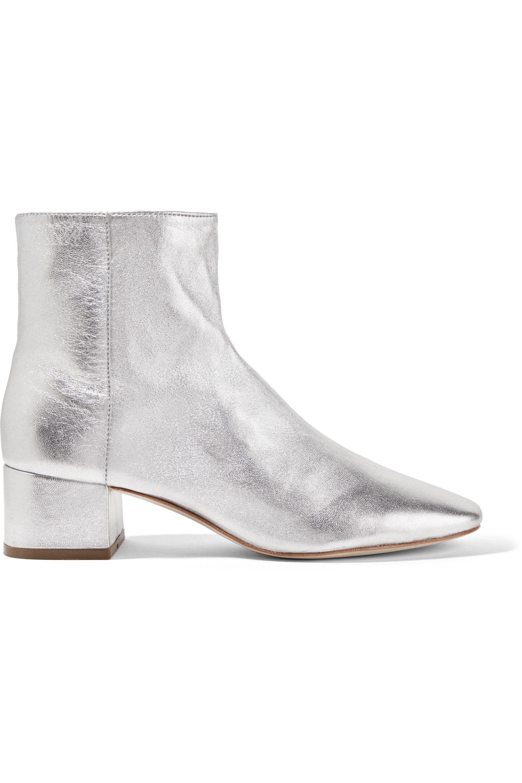 52cba293305 Loeffler Randall Woman Carter Metallic Textured-leather Ankle Boots ...