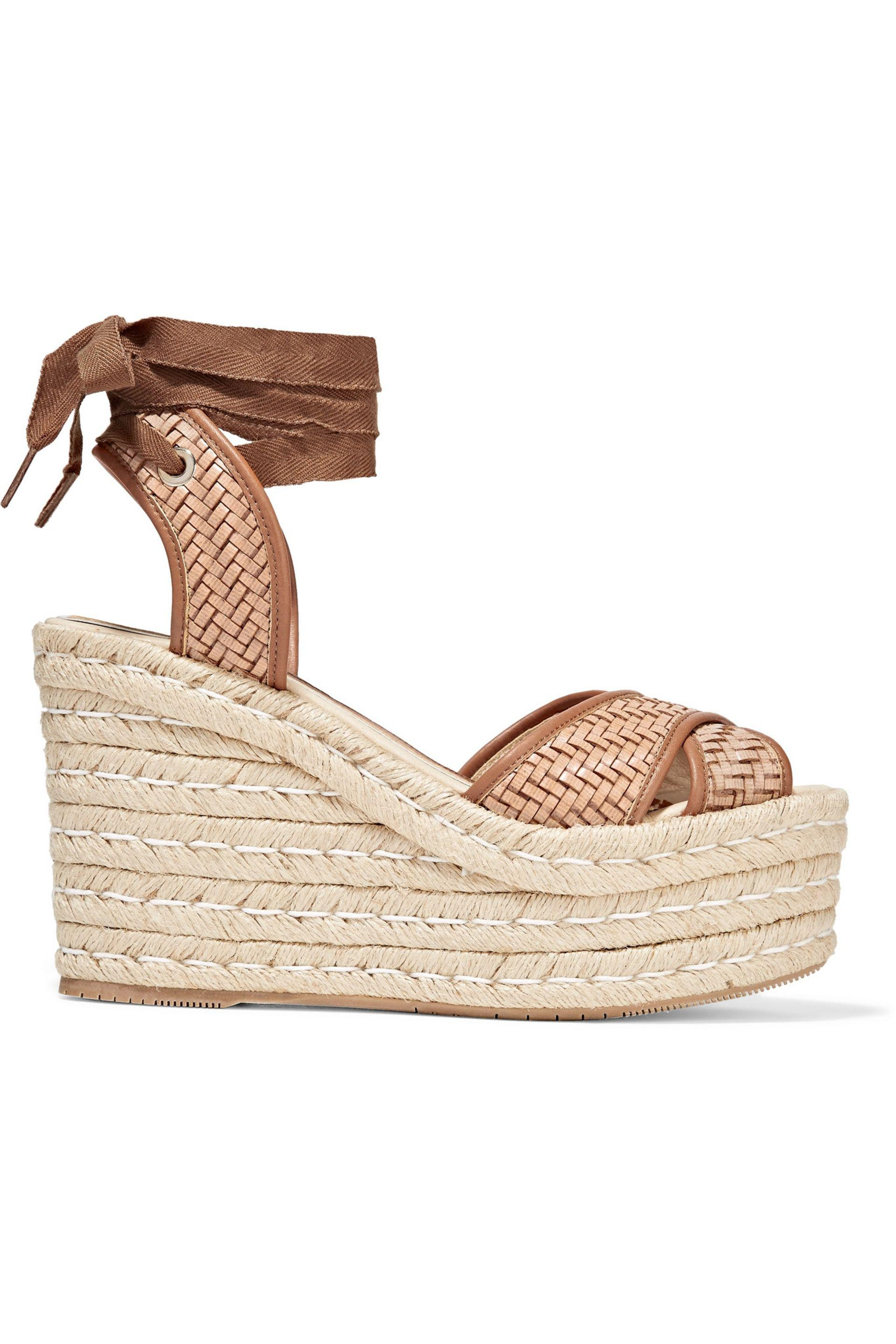 f78b4dbdbb5 Lyst - Paloma Barceló Woven Leather Wedge Espadrille Sandals in Brown