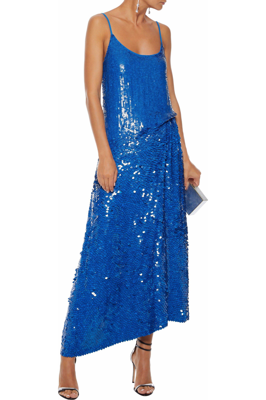 55c6a9080ed4 Lyst - Emilio Pucci Woman Asymmetric Sequined Silk Crepe De Chine ...