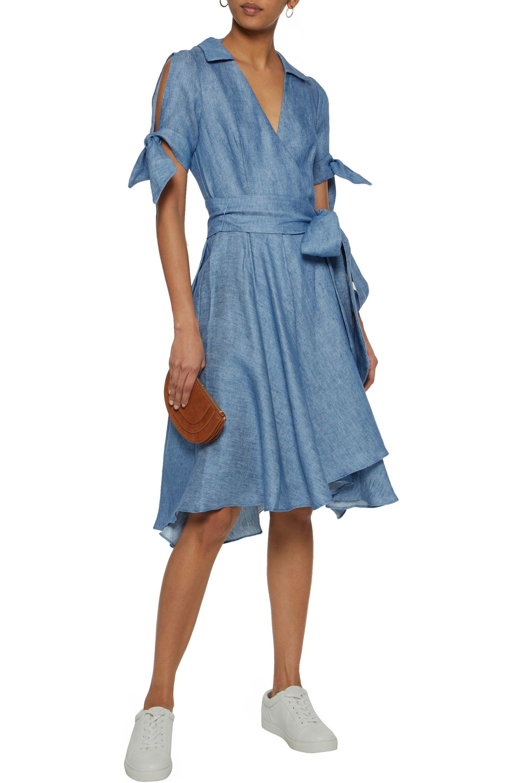 5028276d8c9 Lyst - MILLY Woman Valerie Linen-blend Chambray Wrap Dress Light ...