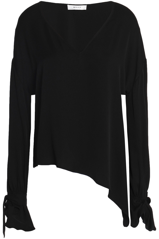 0c419812544db Lyst - MILLY Nicolina Asymmetric Silk-blend Top in Black