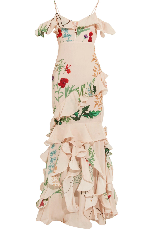 Johanna Ortiz La Santa Maria Ruffled Printed Silk Gown in Natural - Lyst