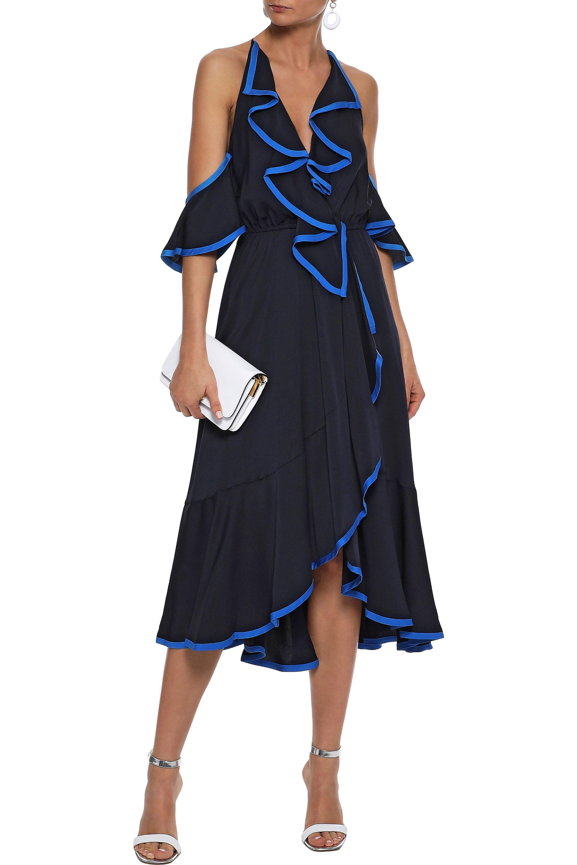 bf53be962c7 Lyst - MILLY Bryce Cold-shoulder Ruffled Stretch-silk Midi Dress in ...