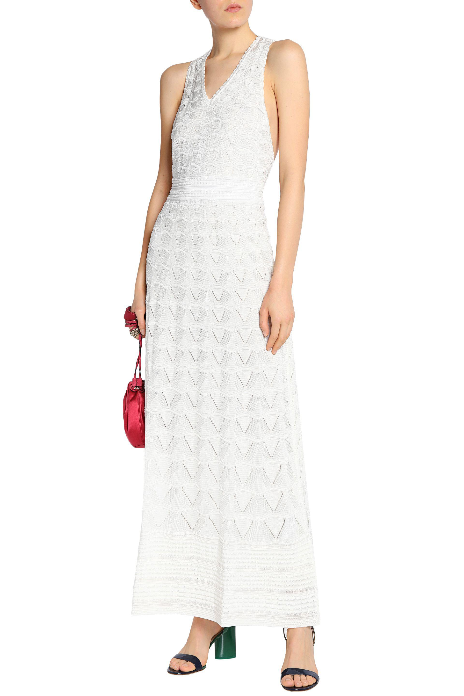 9156ce9597a M Missoni Woman Crochet-knit Cotton-blend Maxi Dress Off-white in ...