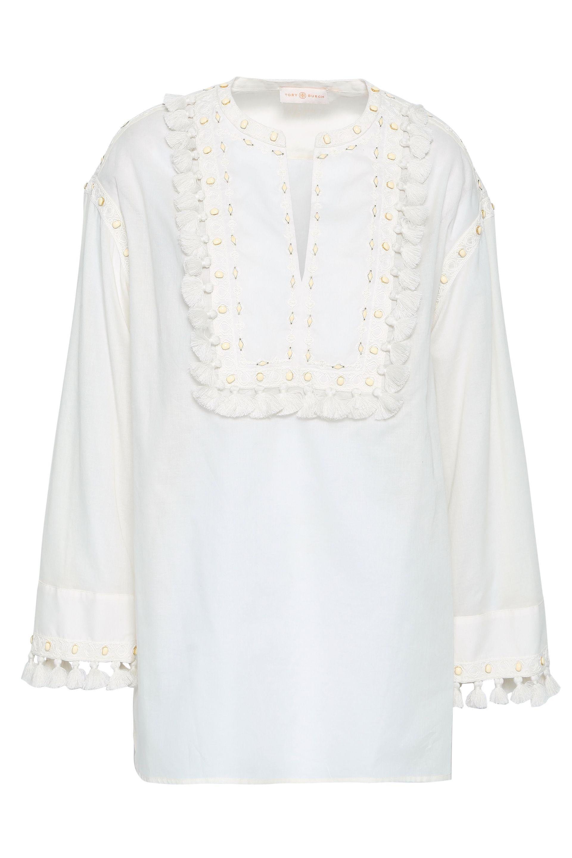 03e996c3010 Tory Burch Tasseled Embroidered Cotton-gauze Top in White - Lyst