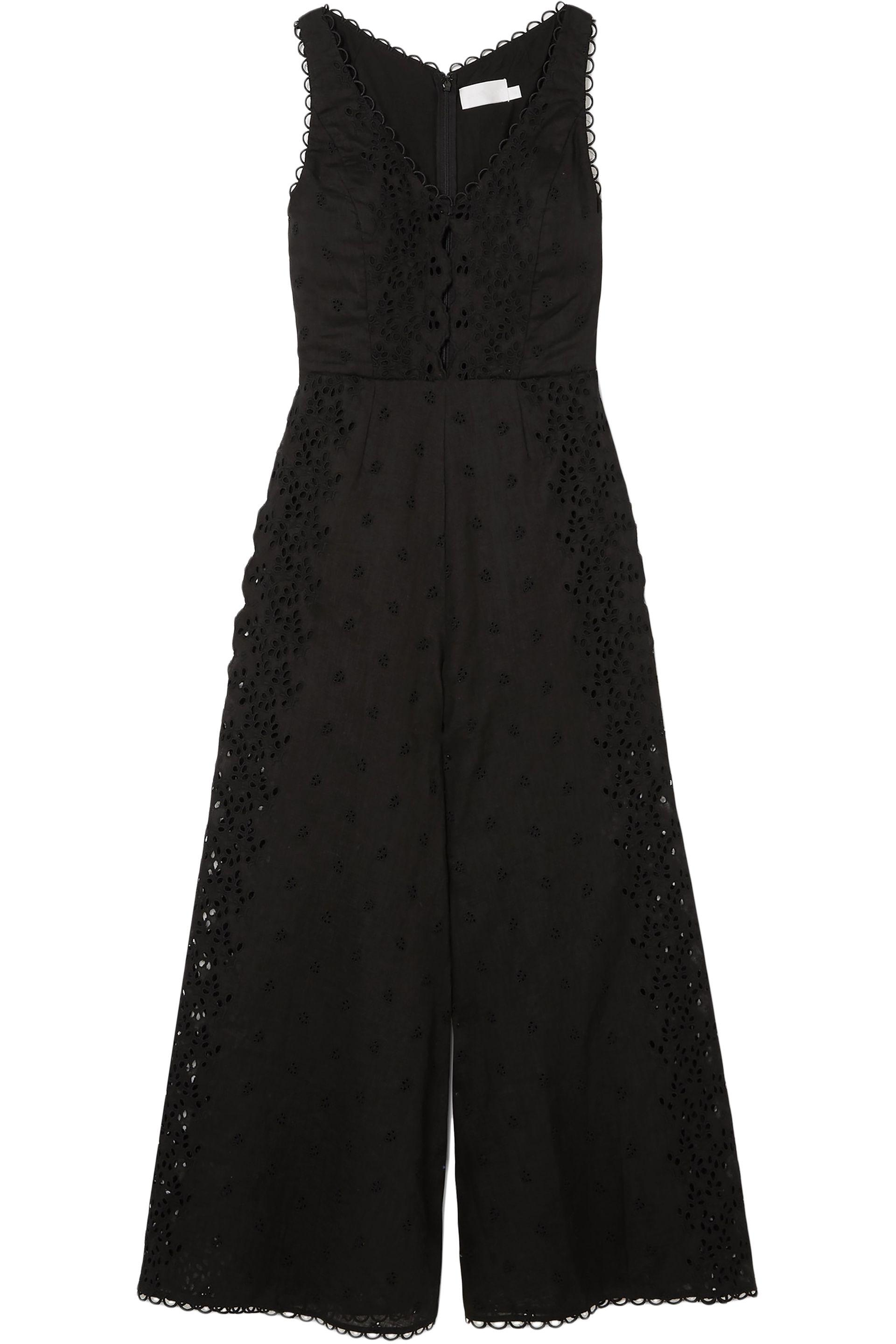 fa95b5f75799 Zimmermann - Woman Broderie Anglaise Cotton-trimmed Linen Jumpsuit Black -  Lyst. View fullscreen