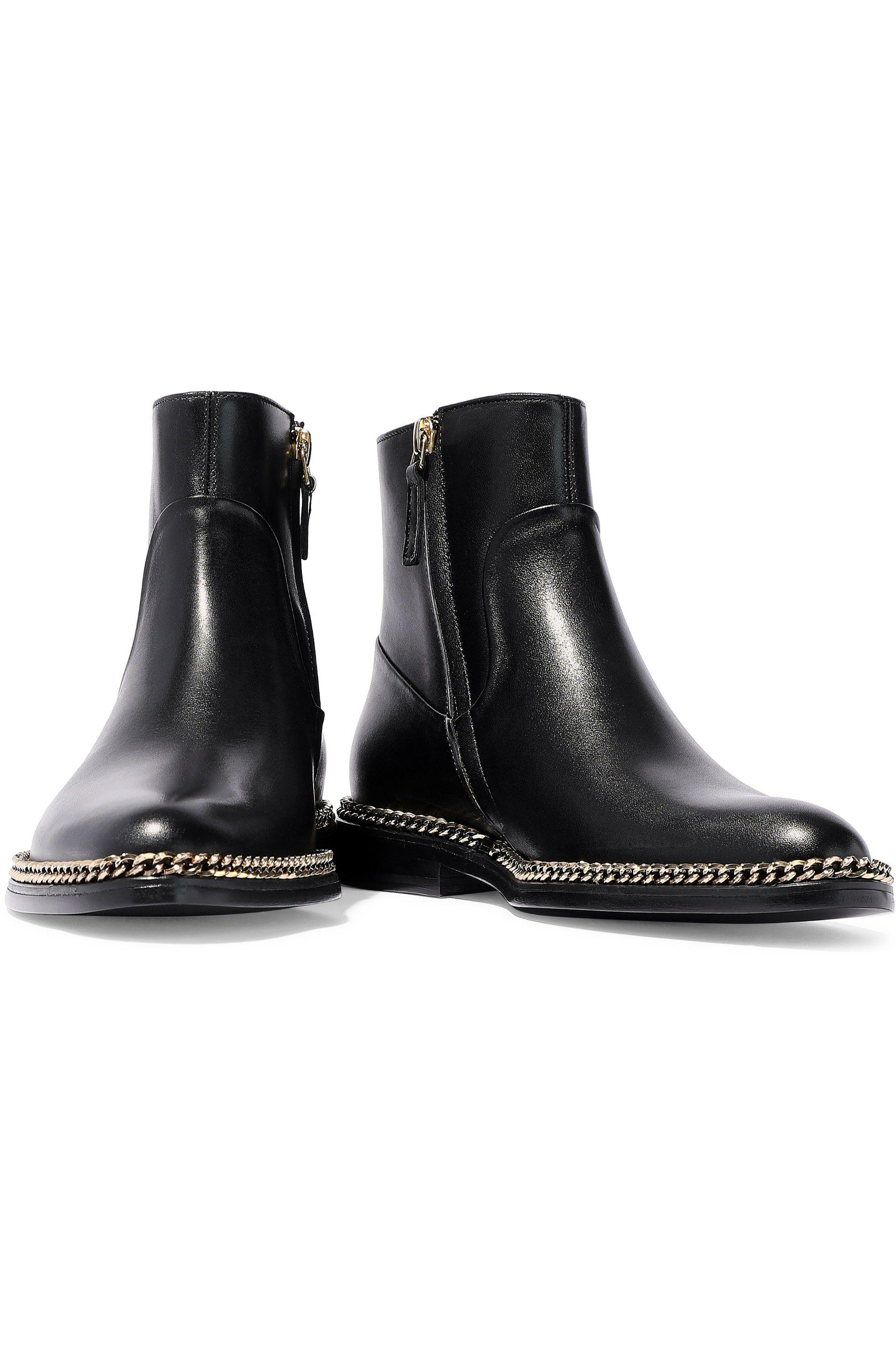 8a2cab4203c Lanvin - Woman Chain-trimmed Leather Ankle Boots Black - Lyst. View  fullscreen
