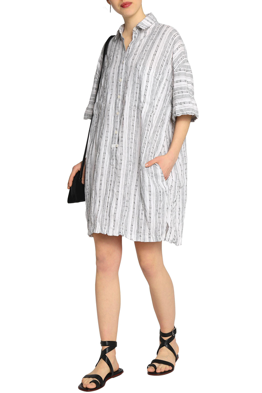 Derek Lam 10 Crosby Woman Striped Linen And Cotton-blend Mini Shirt Dress White Size XL Derek Lam Geniue Stockist Sale Online 8hpCS8R