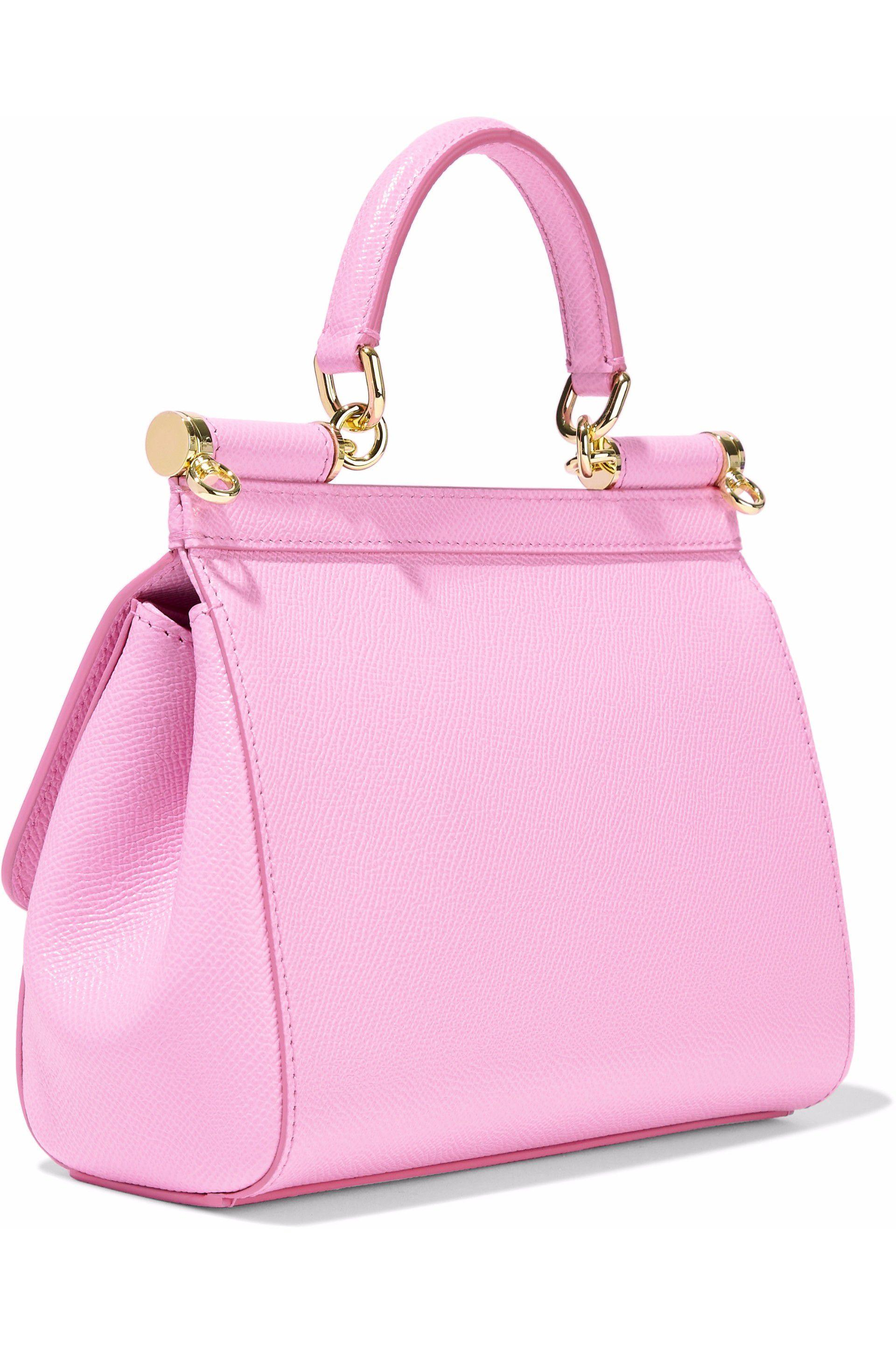 736d869902f8 Dolce   Gabbana - Woman Textured-leather Shoulder Bag Baby Pink - Lyst.  View fullscreen
