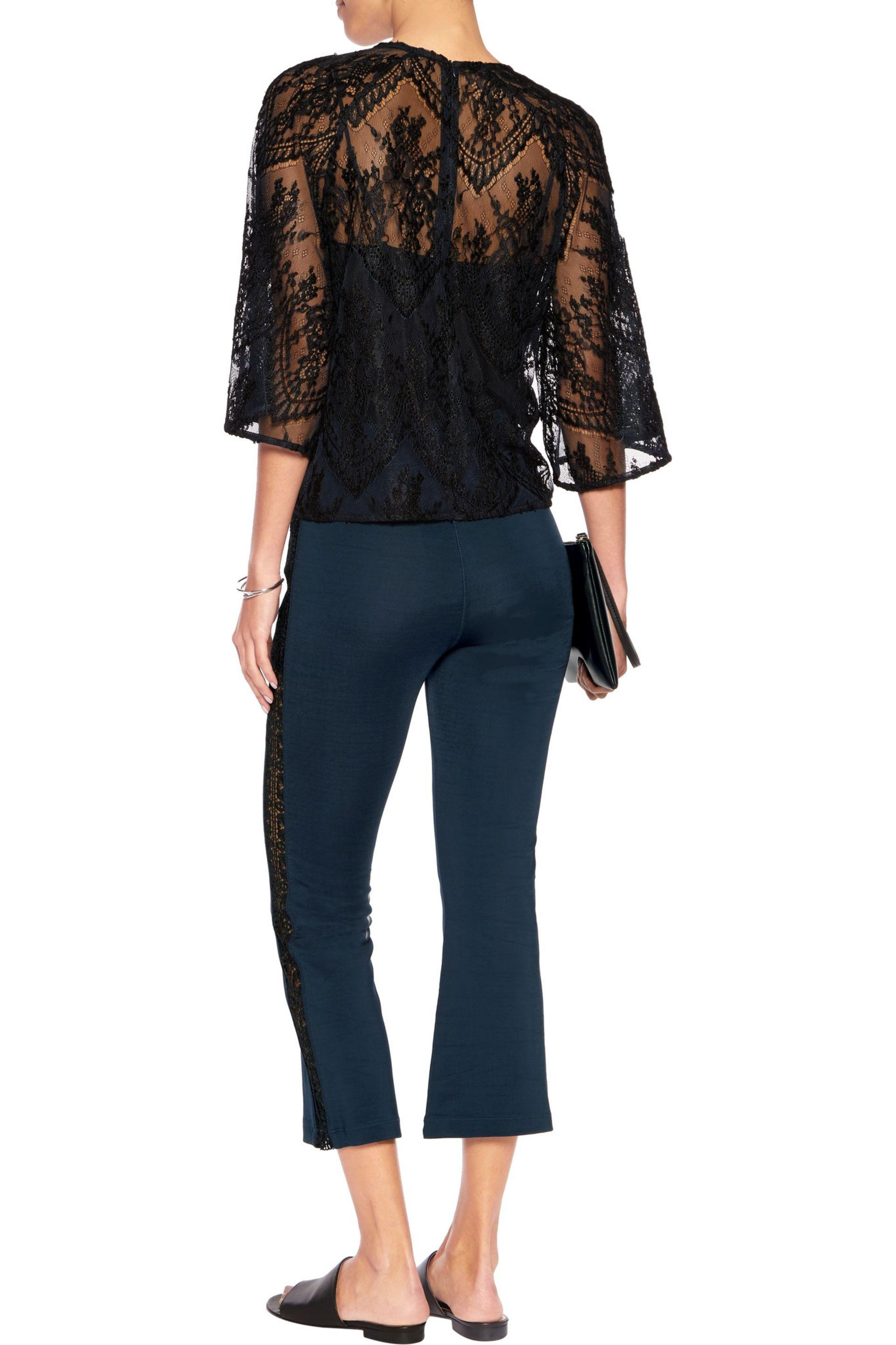 Ganni - Blue Rogers Cropped Lace-trimmed Stretch-jersey Bootcut Pants -  Lyst. View Fullscreen