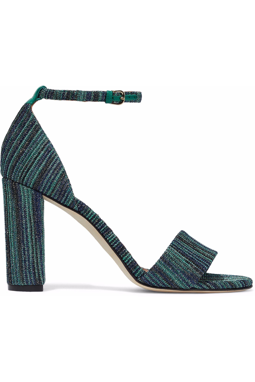 de9b39a8b68 Lyst - M Missoni Metallic Crochet-knit Sandals in Green