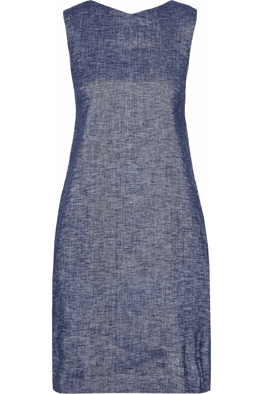 Theory Woman One-shoulder Ruffled Linen-blend Chambray Mini Dress Mid Denim Size 4 Theory jMUDlNxn