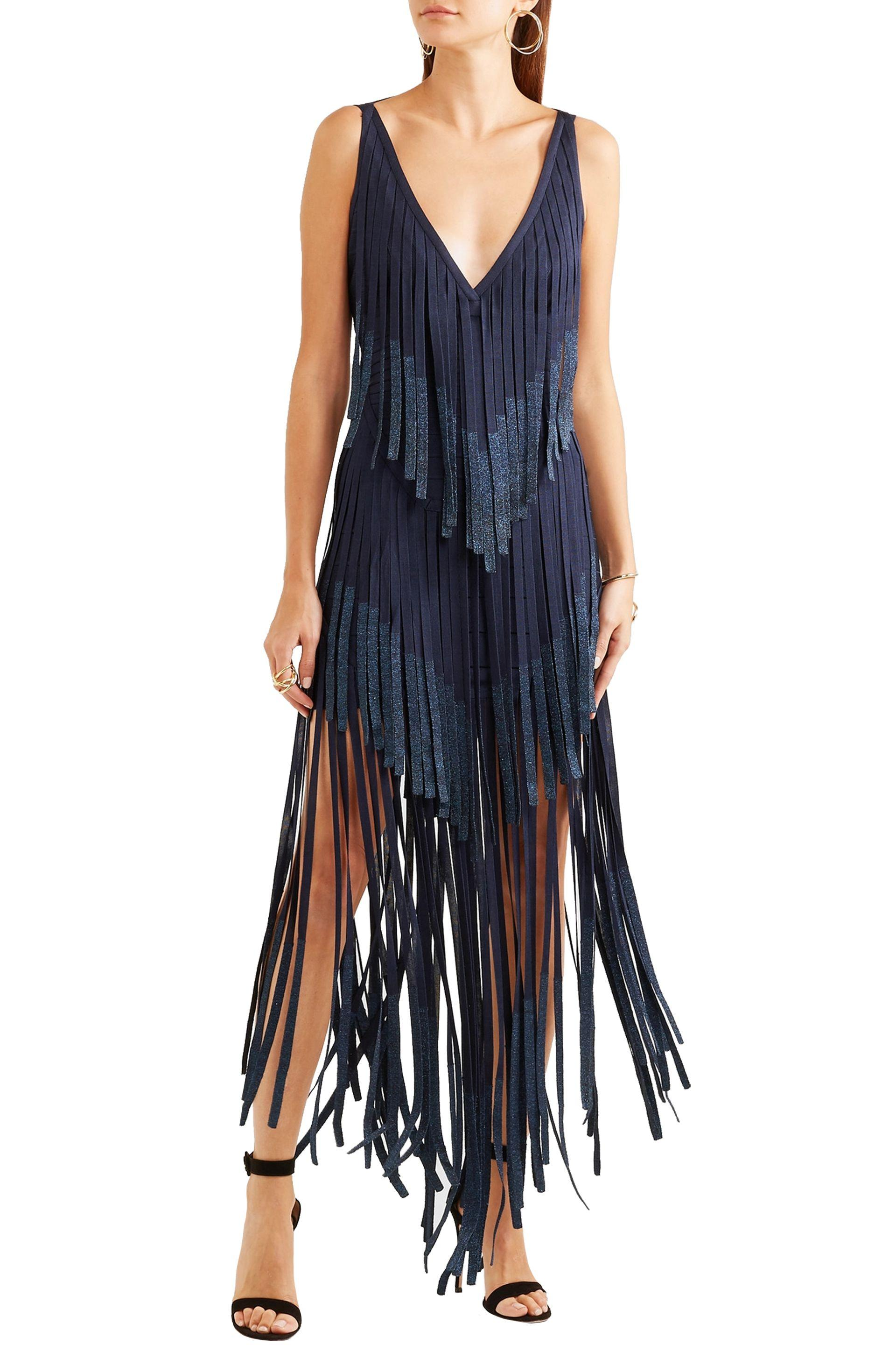 69767b4a5b1 ... Hervé Léger Woman Izabel Open-back Fringed Metallic Bandage Midi Dress  Midnight. View fullscreen