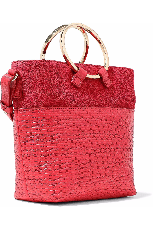 2d22f315bc04 Halston Heritage - Red Nubuck-paneled Embossed-leather Shoulder Bag - Lyst.  View fullscreen