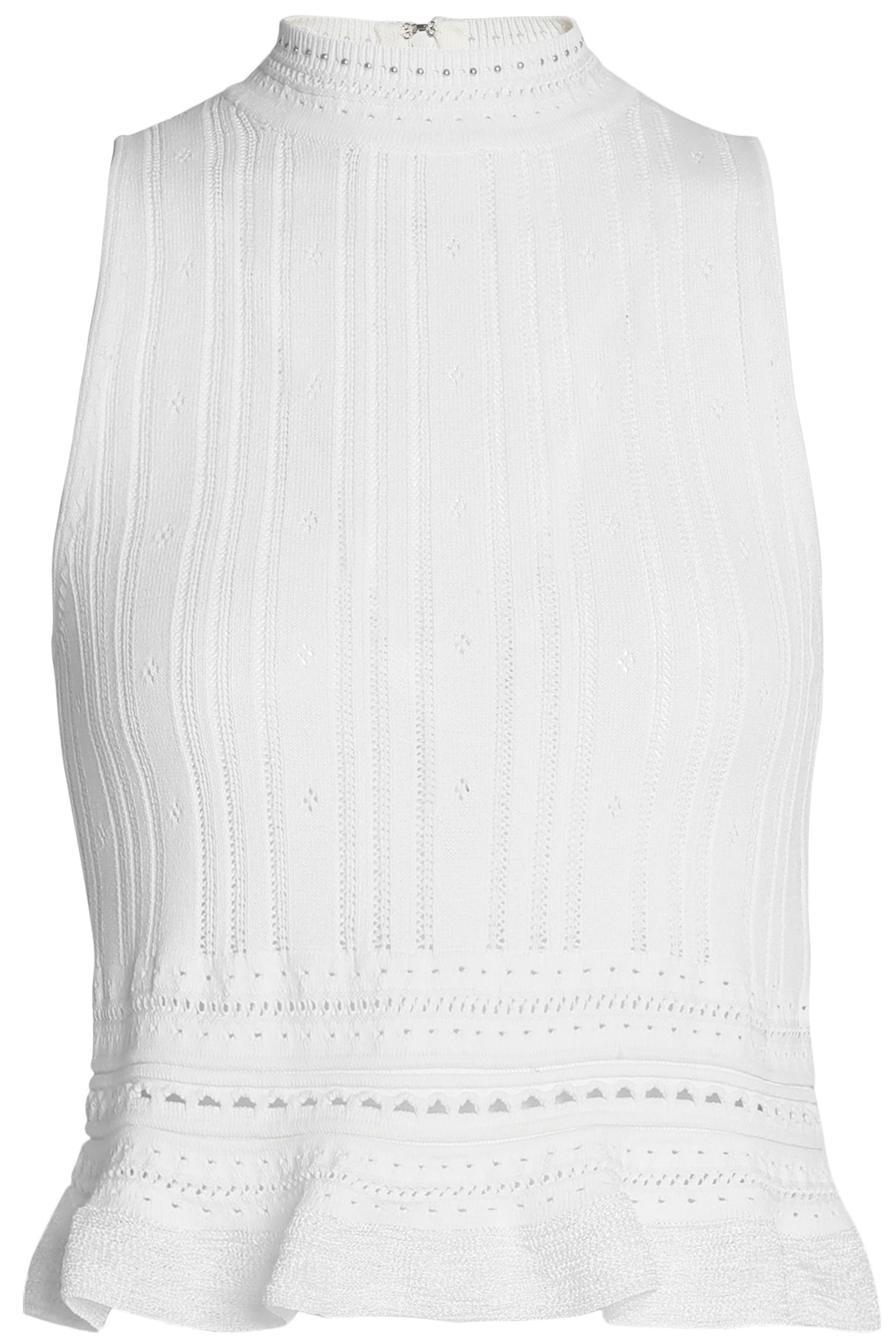 3.1 Phillip Lim Woman Pointelle-trimmed Ribbed-knit Top White Size M 3.1 Phillip Lim Order For Sale Buy Cheap Browse Best Sale Free Shipping Wiki Free Shipping Footlocker Finishline VXO8TG3l8