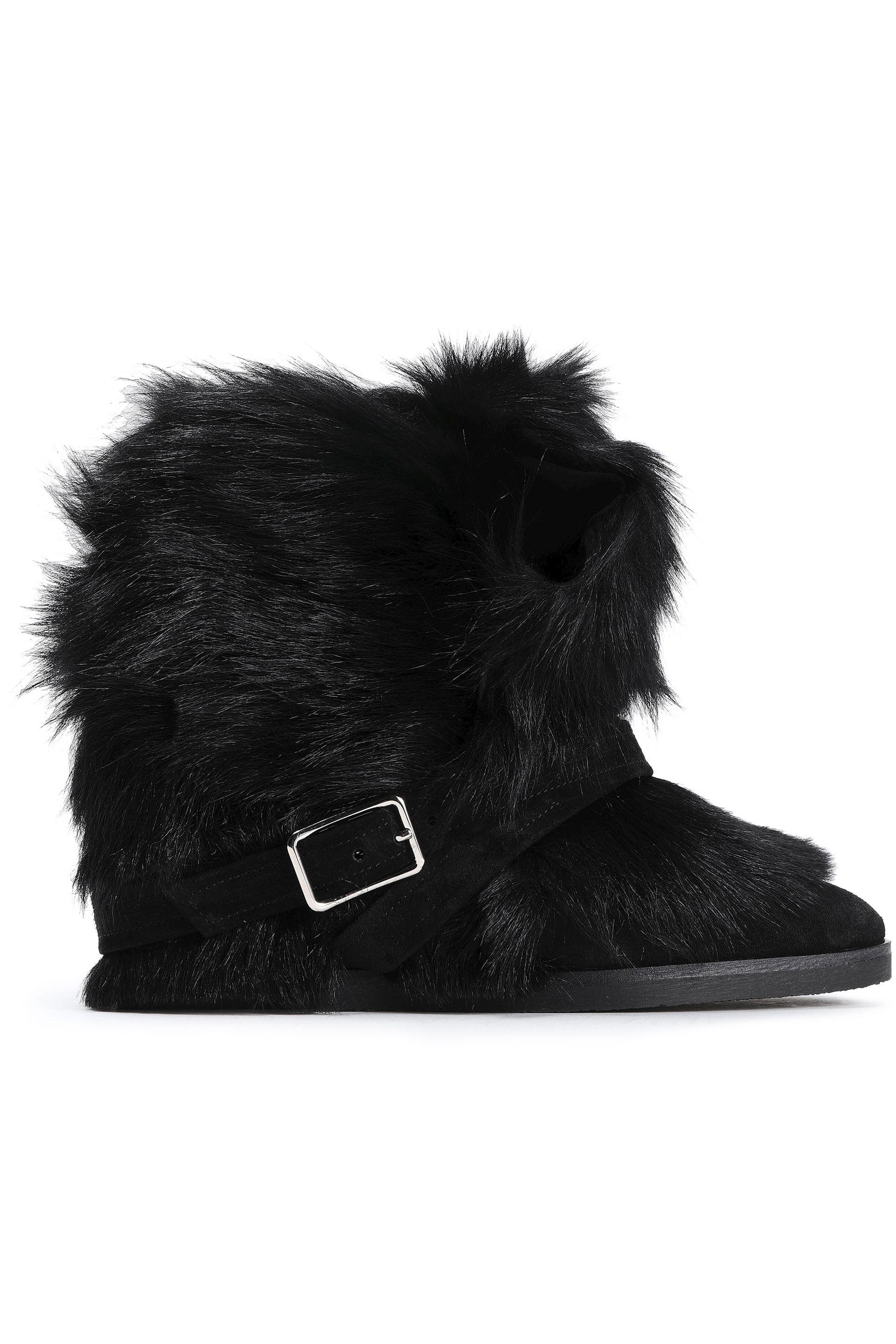 a75045cb64b87 Gianvito Rossi. Women's Woman Cortina Buckled Shearling Ankle Boots Black
