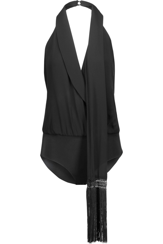 Haute Hippie. Women's Black Draped Silk-twill Halterneck Bodysuit