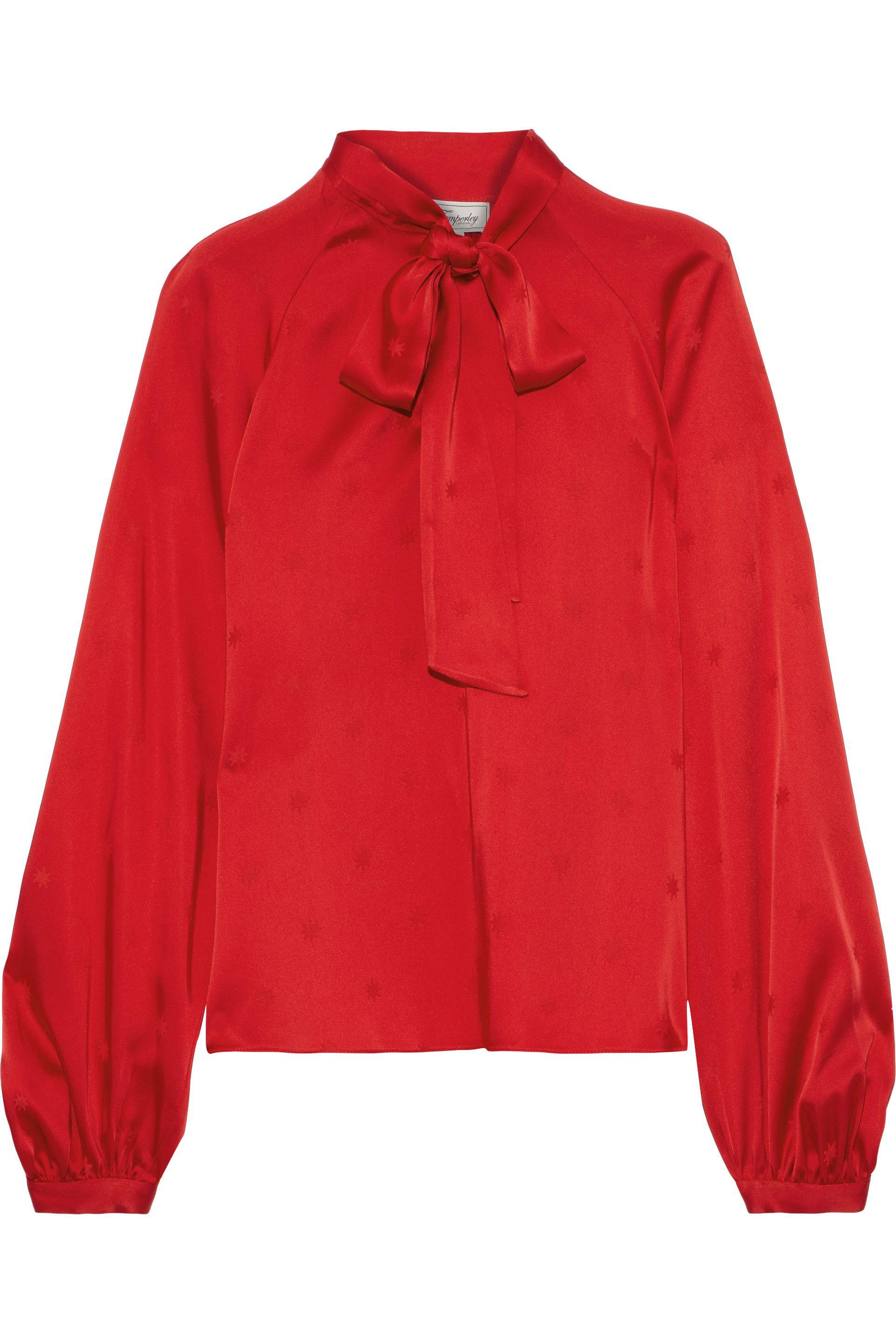 28f8bad1e39880 Temperley London. Women's Woman Betty Pussy-bow Satin-jacquard Blouse Red