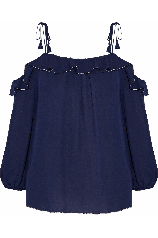 d66c4c85455841 Lyst - Joie Eukene Cold-shoulder Ruffled Silk Crepe De Chine Top in Blue