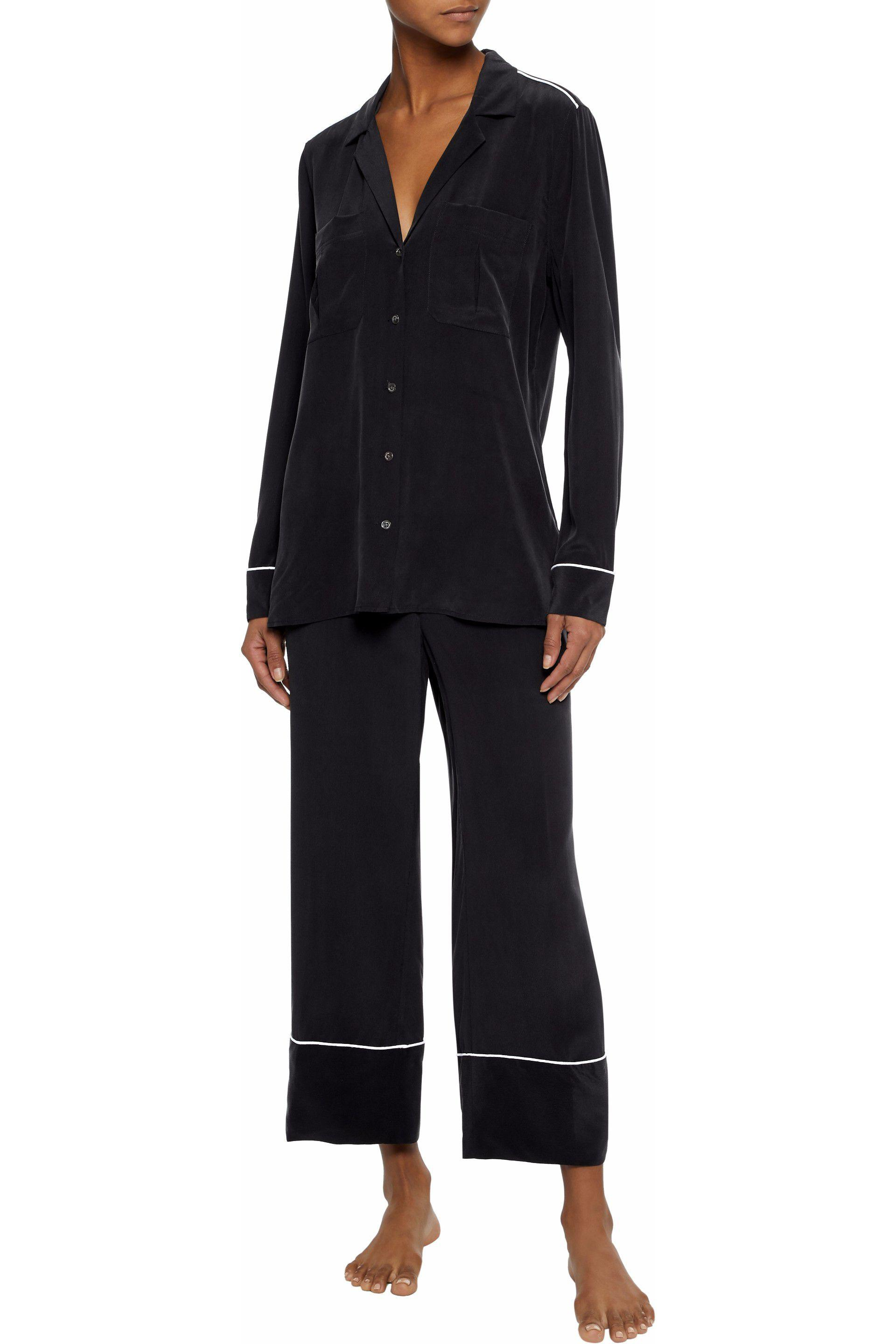 Lyst - Equipment Sonny Washed-silk Pajama Set in Black f81d28a8d