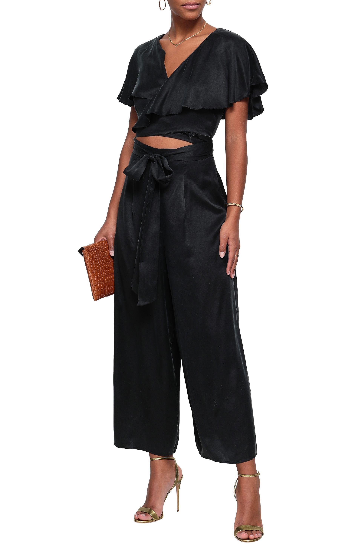 5809859fdf Zimmermann - Woman Cutout Ruffled Washed-silk Wrap Jumpsuit Black - Lyst.  View fullscreen