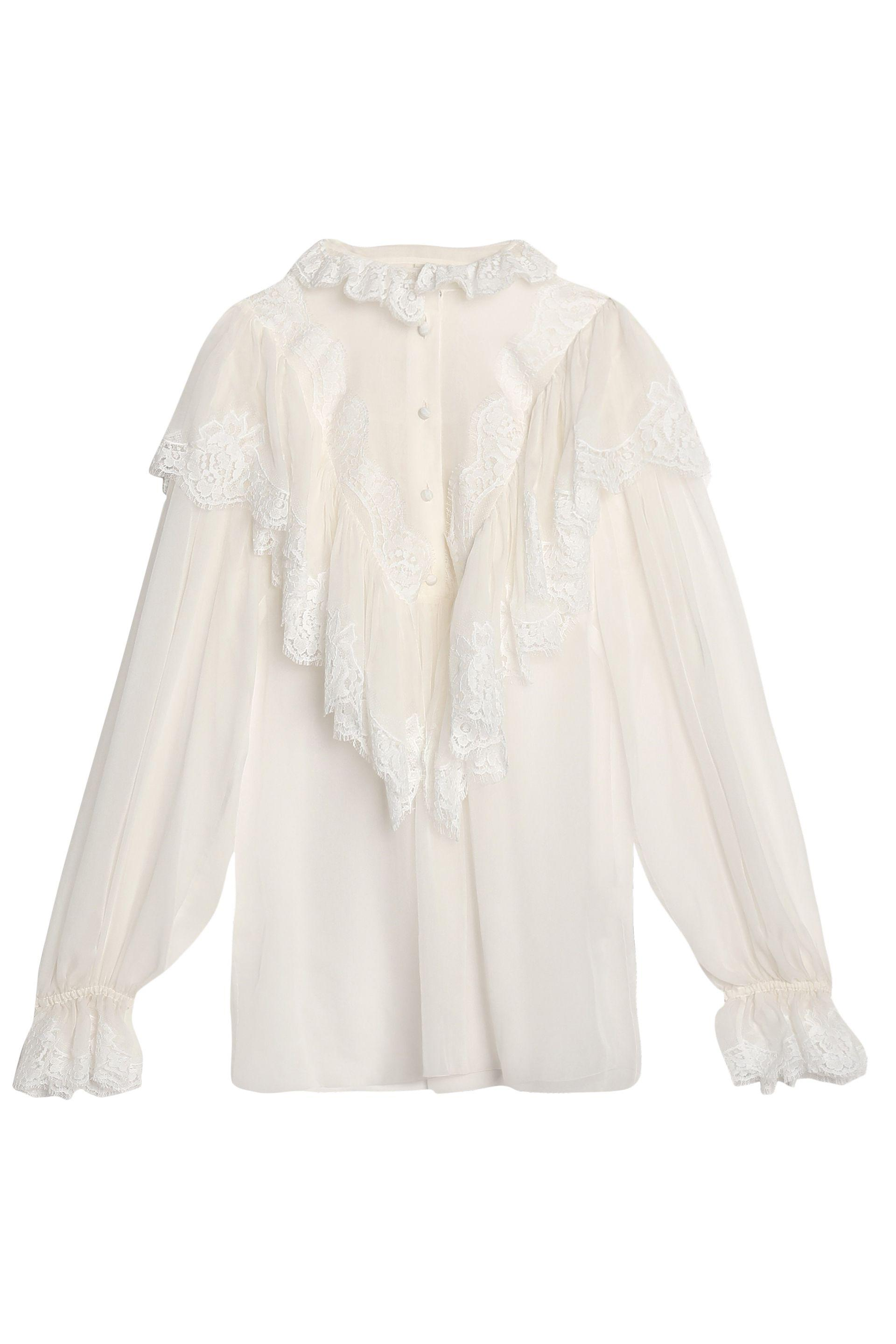 Clearance How Much Countdown Package Sale Online Lace trim ruffled silk-blend blouse Dolce & Gabbana Outlet Really LsUzU