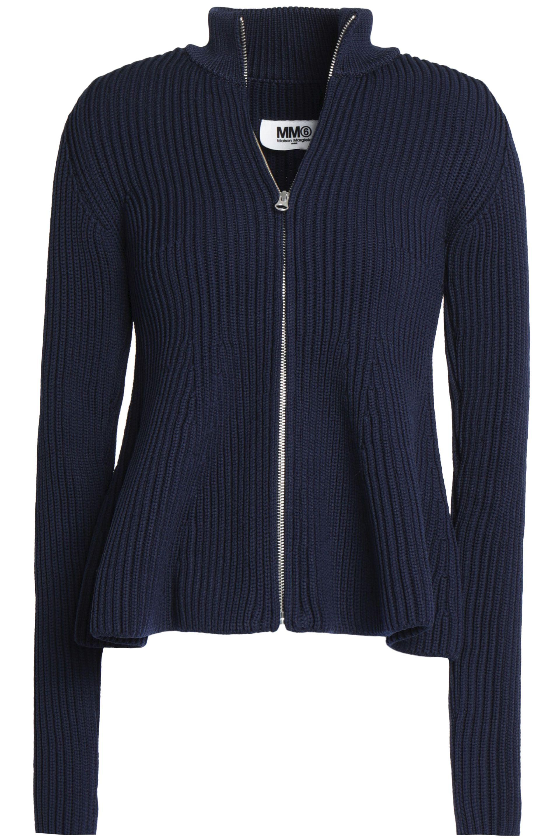 Mm6 By Maison Margiela Woman Ribbed-knit Cardigan Navy Size M Maison Martin Margiela Buy Cheap Official Purchase Online Free Shipping Release Dates Free Shipping Amazon Nicekicks Sale Online Bxsh9HUO3