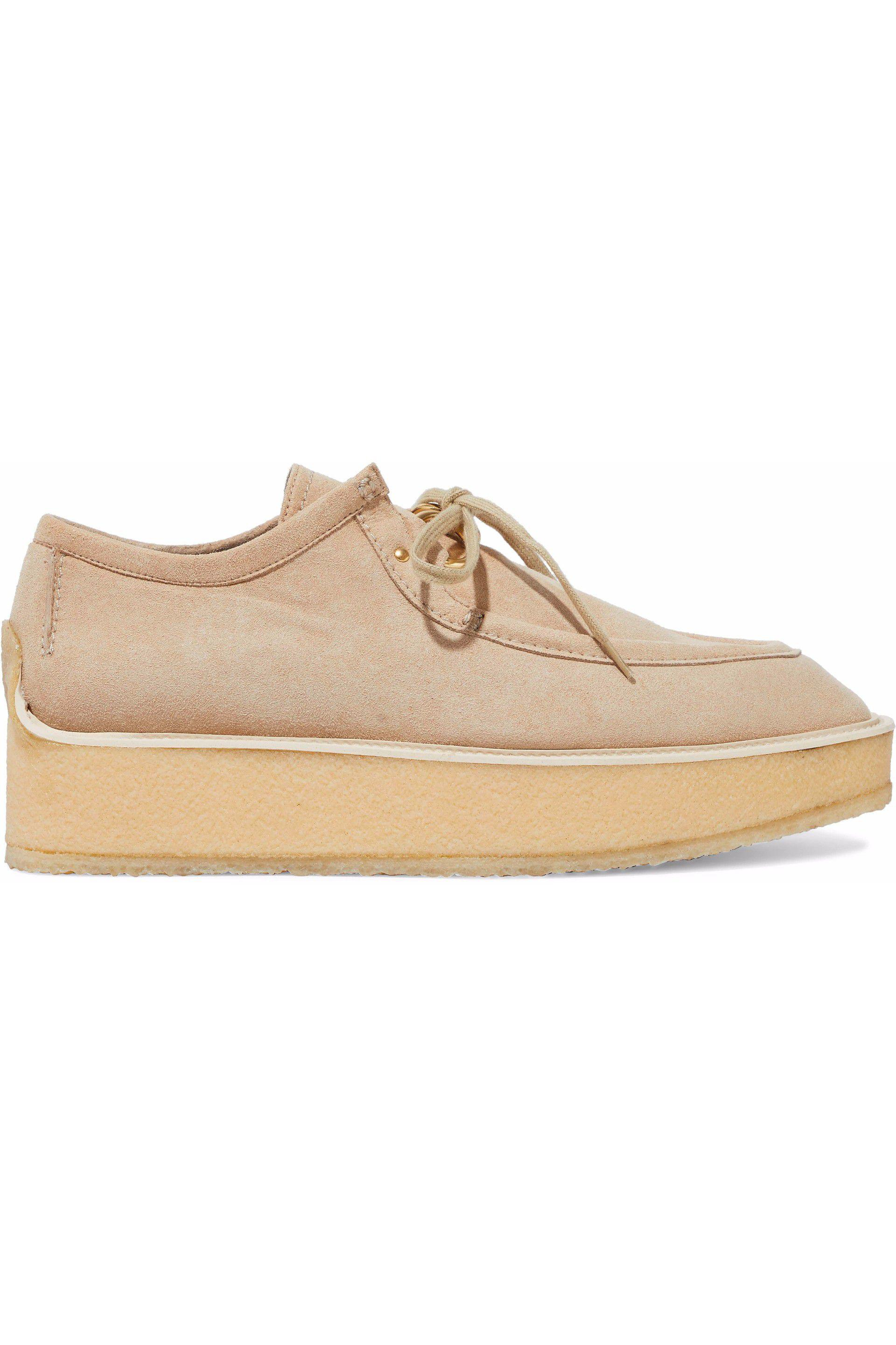68c32410dcae Lyst - Stella McCartney Faux Suede Platform Loafers in Natural