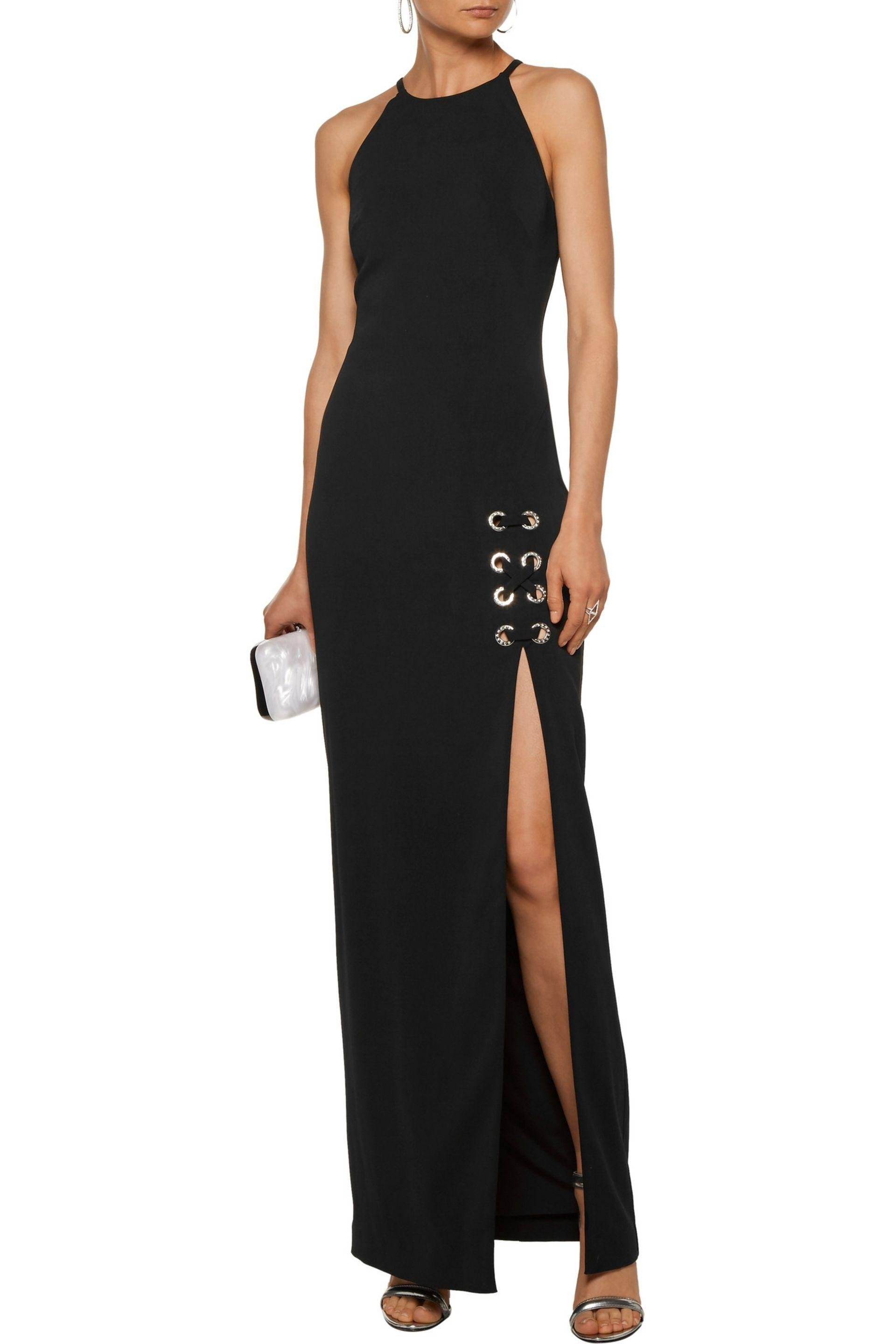Badgley Mischka | Black Lace-up Embellished Stretch-cady Gown | Lyst. View  Fullscreen