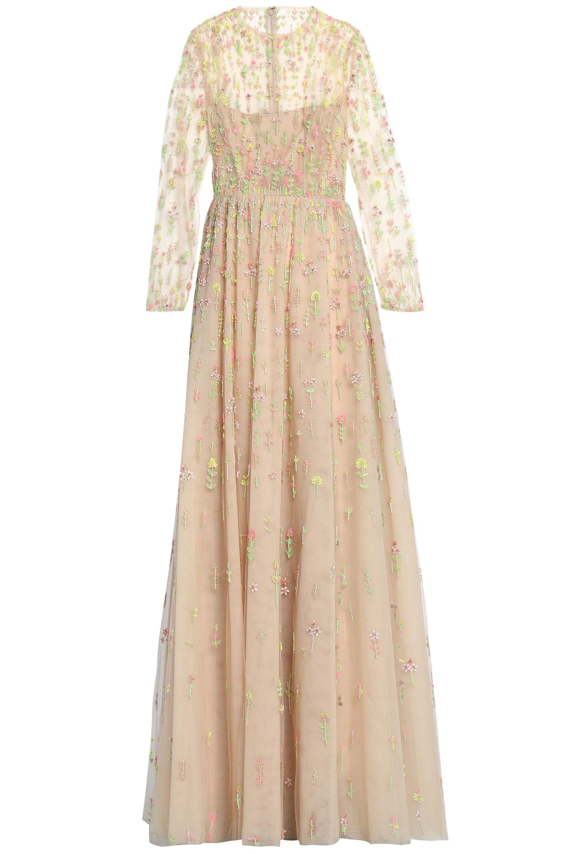 Lyst - Valentino Embellished Tulle Gown in Natural